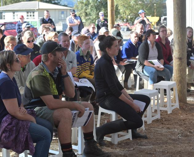 Attendees listen to speakers at a field day on the Taieri property of Otago Southland Share Farmers of the Year winners Cameron and Nicola van Dorsten. Photo: Linda Robertson