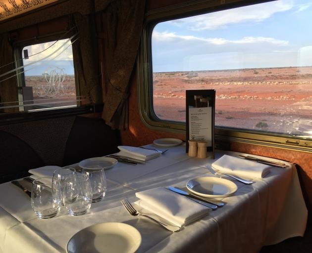 The Ghan's Queen Adelaide Restaurant is ready for diners. PHOTO: PAM JONES