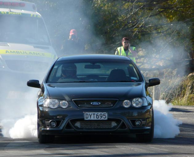 Quintin Smith, of Balclutha, smokes up at the 2019 Lawrence Quarter Mile Drags on Saturday. Photo...