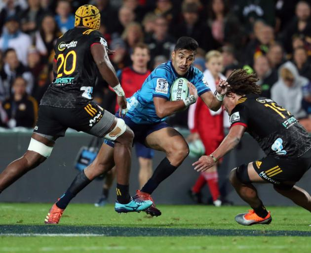 Blues Rieko Ioane is tackled during the round 9 Super Rugby match between the Chiefs and the Blues. Photo: Getty Images