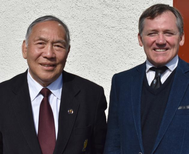 Deme Sakata (left) catches up with 1987 World Cup-winning All Black captain David Kirk at the...