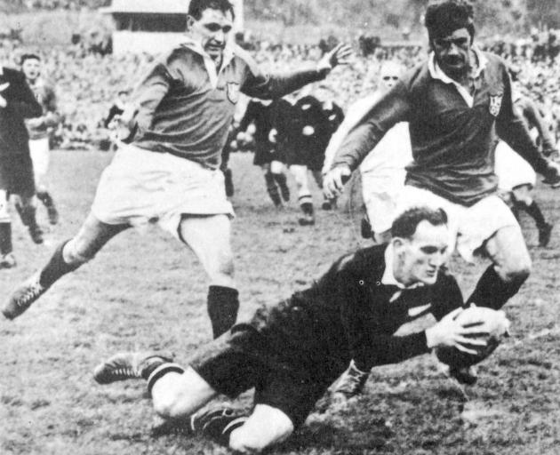 Ron Elvidge scores in the first test of the 1950 series. Photo: Supplied