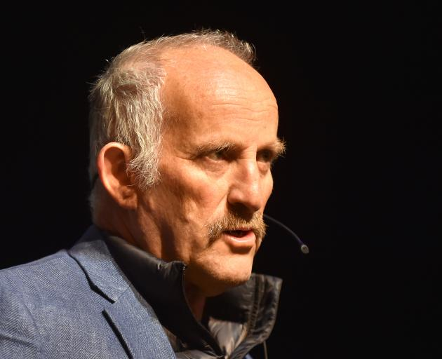 Gareth Morgan speaks at the Mayfair Theatre in Dunedin last night. Photo: Peter McIntosh