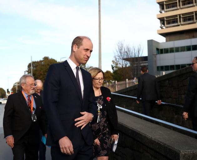 Prince William, Duke of Cambridge arrives at Christchurch Hospital to visit patients. Photo:...