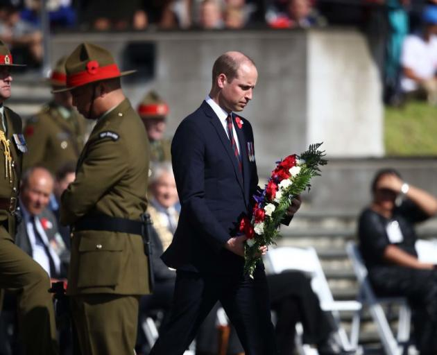Prince William, Duke of Cambridge lays a wreath as he attends a service at the Auckland War...