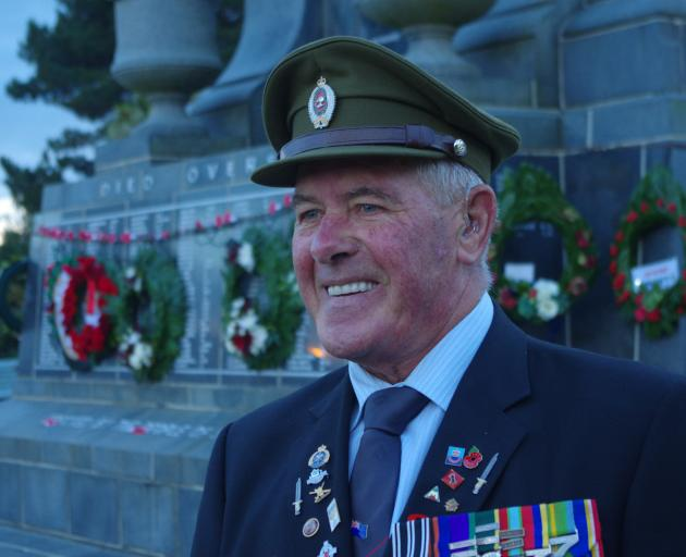 Bill South, Warrant Officer Class 1, a veteran of Malaya and Vietnam, has led the dawn parade in...