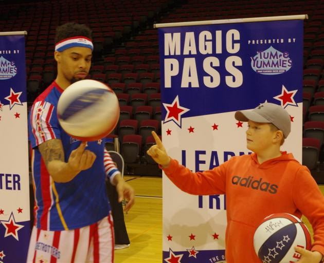 Tom Strickson (10) travelled all the way from Dunedin to see the Globetrotters in Invercargill....