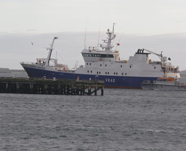 Antarctic Discovery arrives in Bluff yesterday. Photo: Giordano Stolley