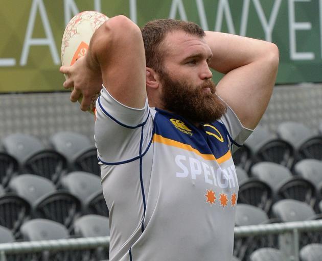 Otago hooker Liam Coltman at training at Forsyth Barr Stadium yesterday. Photo: Linda Robertson CROPPED