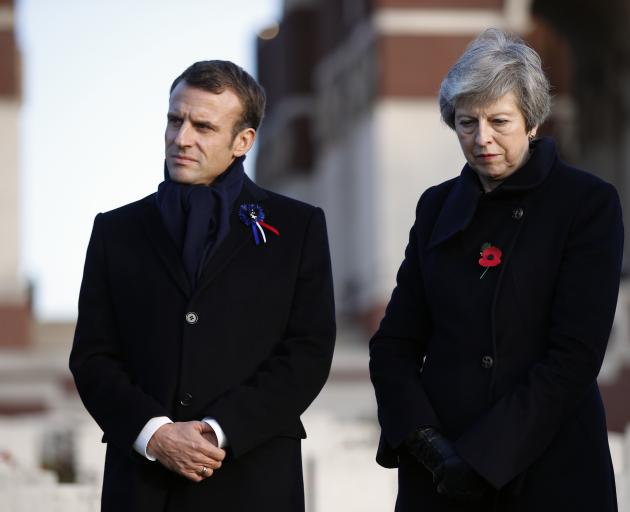 French President Emmanuel Macron and British leader Theresa May. Photo: AP