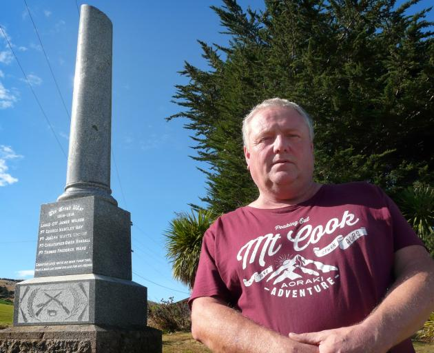 Glenomaru resident Kevin Boam wants the district's cenotaph on the Owaka Highway to be repaired. Photo: Richard Davidson