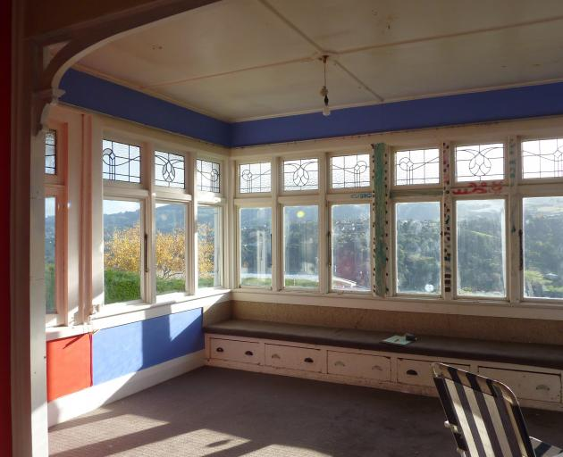 The old sunroom which now houses the living room and dining areas.