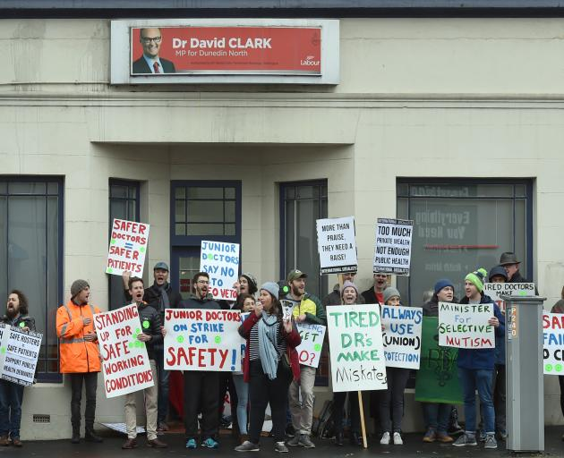 Resident doctors stage a protest outside Health Minister David Clark's Albany St electorate...