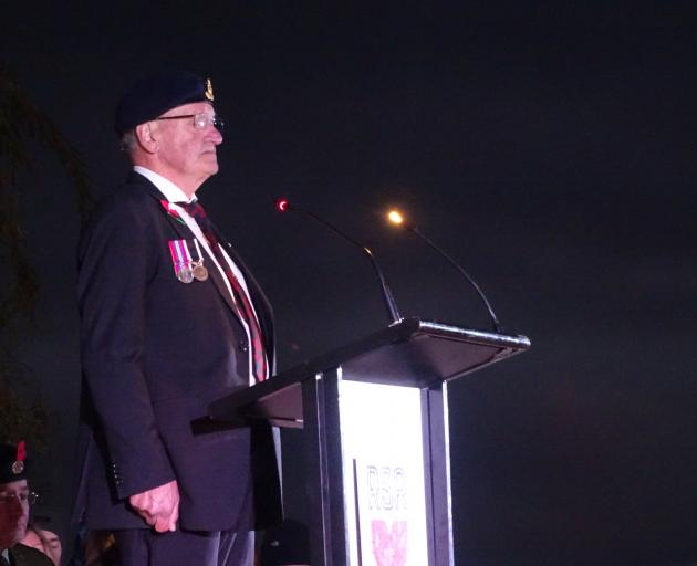 Queenstown RSA president Lyall McGregor at this morning's dawn service. Photo: Tracey Roxburgh