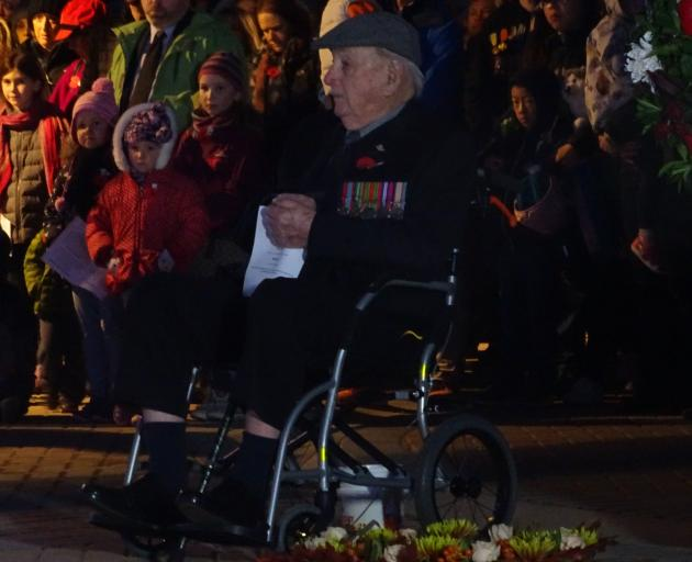 Veteran Raymond Dunn (98), of Kaitaia, at this morning's dawn service in Queenstown. Photo:...