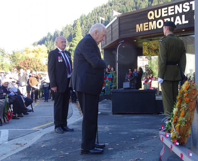 World War 2 veteran Raymond Dunn (98), of Kaitaia, pictured after laying his poppy outside the...