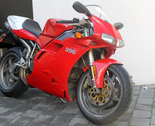 This Ducati 996, registration 72ZET, was stolen during a burglary in Queenstown on April 1 and has not yet been recovered.  A 44-year-old man has been arrested in relation to the incident and charged with receiving stolen property and burglary. Photo: Sup