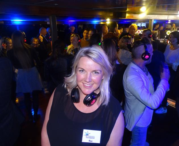 Queenstown Winter Festival director Rae Baker on board TSSEarnslaw last night during a silent disco to launch the 45th annual festival's programme. Photo: Tracey Roxburgh