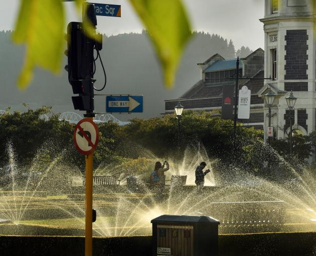 Water flows from piping used in the Star Fountain as council staff test a failed plan to return...