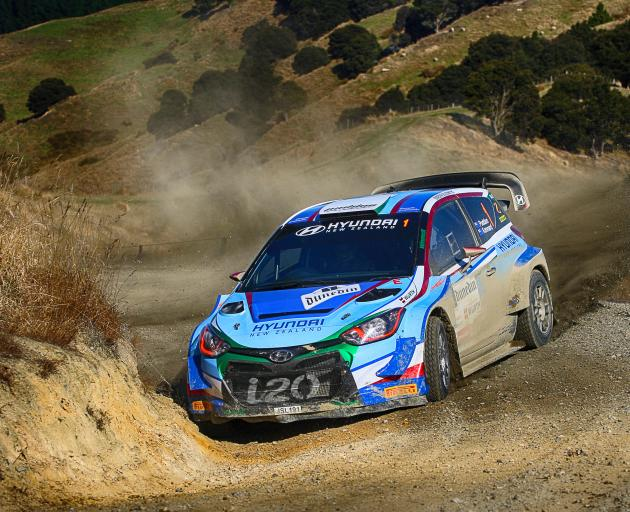 Cromwell-based Hyundai driver Hayden Paddon demonstrates his winning style during the Otago Rally...