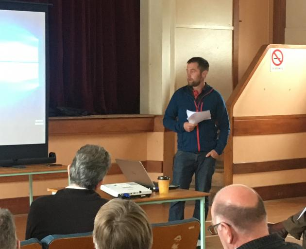 Wet weather forced Henry Pinckney indoors into the Waiau Hall to give his presentation to the Post Quake Farming Project earlier this month. Photos: Supplied by Post Quake Farming Project