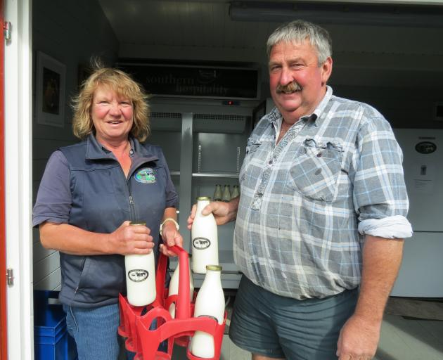 Geoff and Beth Henderson have been providing unpasteurised, unhomogenised raw milk in glass bottles for door-to-door delivery in Gore and Mataura. Photo: Yvonne O'Hara