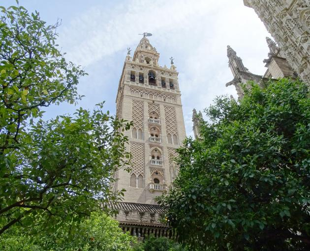 The Giralda tower attached to Seville Cathedral.
