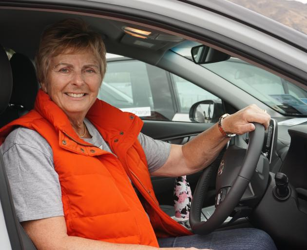 Championing the electric car in Wanaka yesterday is Better NZ Trust chairwoman Kathryn Trounson....