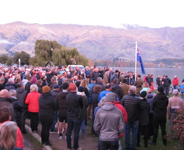 Between 600 and 700 attended the Anzac dawn service in Wanaka. Photo: Mark Price