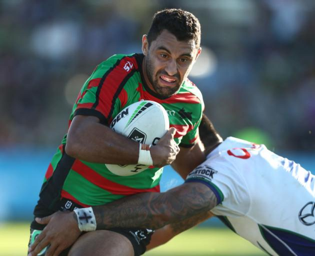 Alex Johnston of the Rabbitohs is tackled during the round five NRL match between the South Sydney Rabbitohs and the New Zealand Warriors. Photo: Getty Images