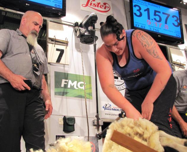 Pagan Karauria shears her way to the first New Zealand championships women's shearing title in Te...