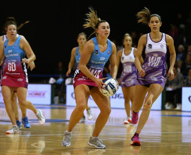 Gina Crampton, of the Southern Steel, looks to pass the ball during last night's ANZ Premiership match between the Steel and the Northern Stars at the ILT Stadium in Invercargill. Photo: Dianne Manson/Michael Bradley Photography
