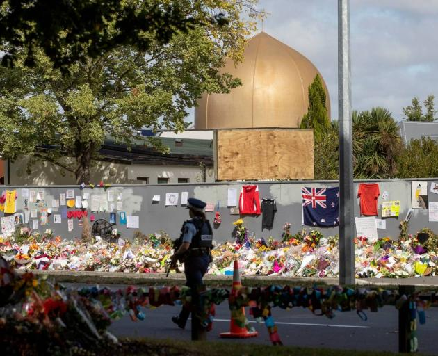 The man yelled abuse outside the Al Noor mosque on Deans Ave in Christchurch. Photo: NZME