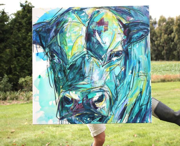 One of Amelia Guild's paintings featuring a bull. Photo: Willa Dunbar