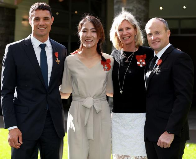 Dan Carter, Lydia Ko, Barbara Kendall and Glenn Ashby pose after receiving their NZOMs for services to sports during an investiture ceremony at Government House on May 15, 2019 in Auckland, New Zealand. Photo: Getty I