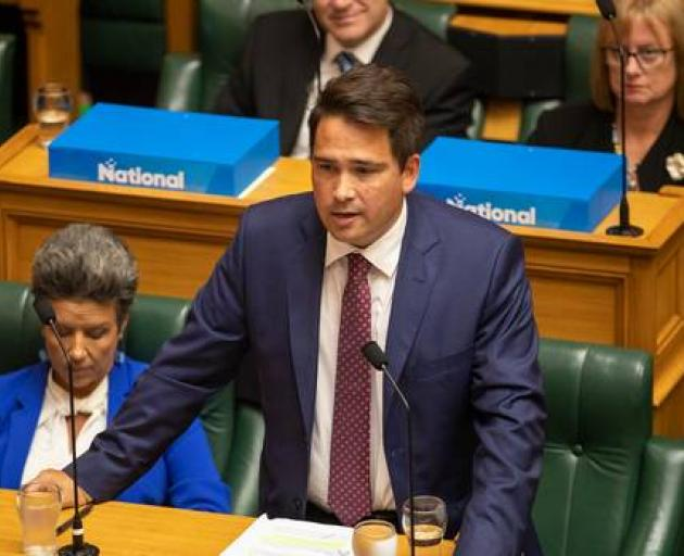 Opposition leader Simon Bridges during question time in Parliament, Wellington - he was kicked out of the House by Speaker Trevor Mallard. Photo: NZME