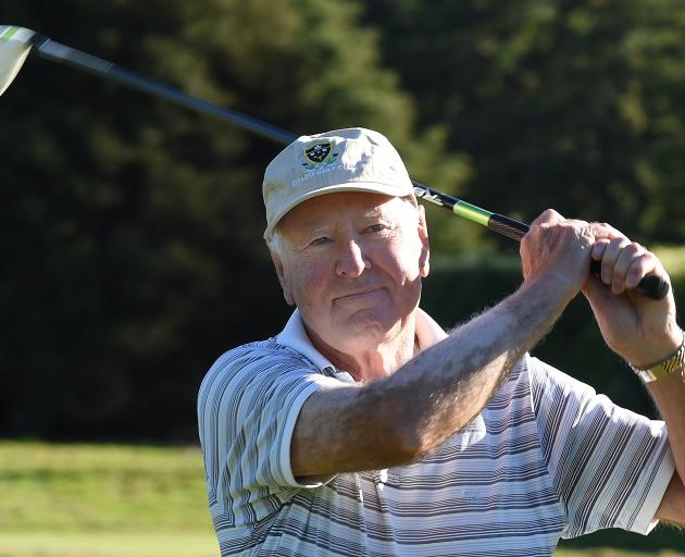 Corran Munro gets into the swing of things at the Otago Golf Club course at Balmacewen yesterday....