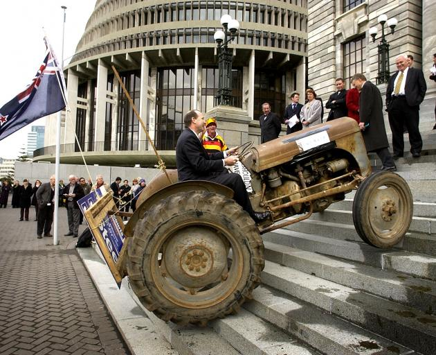 National MP Shane Ardern drives his tractor ``Myrtle'' up the steps of Parliament in September 2003 to protest against the Government's gas emission tax. Photo: ODT archives