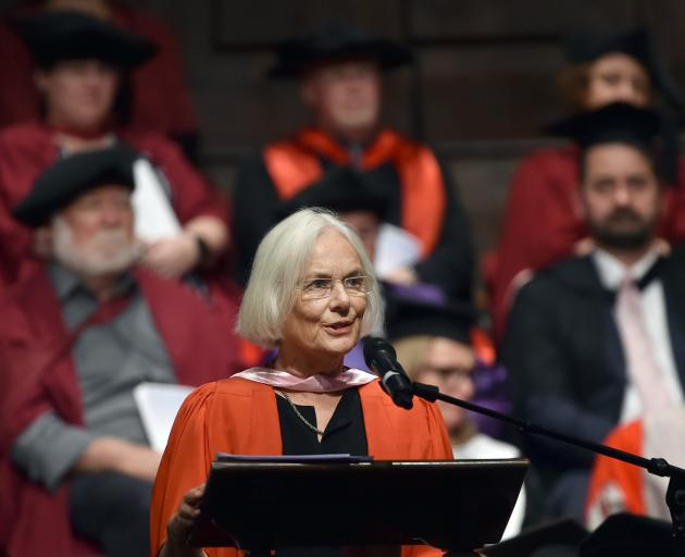 Guest speaker Bridget Williams speaks during the 1pm graduation ceremony at the Dunedin Town Hall
