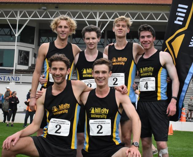 The Hill City-University senior men's winning team (back, from left) of Russell Green (18), Rory...
