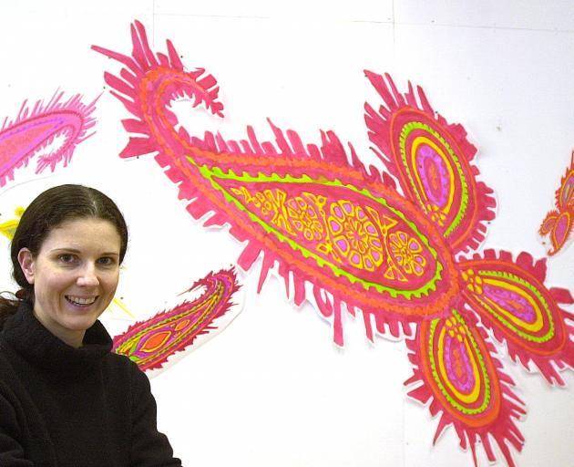 Sara Hughes with the paisley work she completed as Frances Hodgkins' Fellow. Photo: Supplied