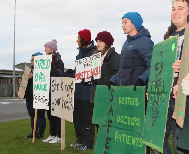 Junior doctors in Invercargill protest outside Southland Hospital as part of a national five day...