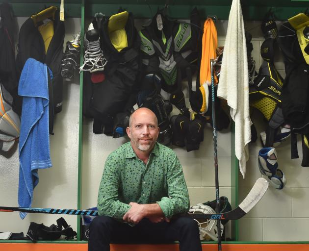 Dunedin Thunder coach Jeff Avery reflects on the season ahead in locker rooms at the Dunedin Ice Stadium yesterday. Photo: Peter McIntosh