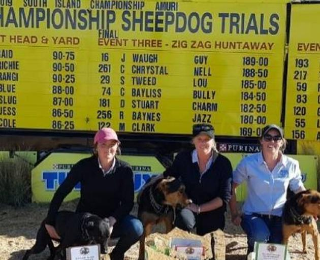 Gisborne's Jo Waugh, centre, is the first woman to win the South Island Sheep Dog Trials. Steph Tweed came in third, while Bex Baynes was sixth. Photo: Jo Waugh