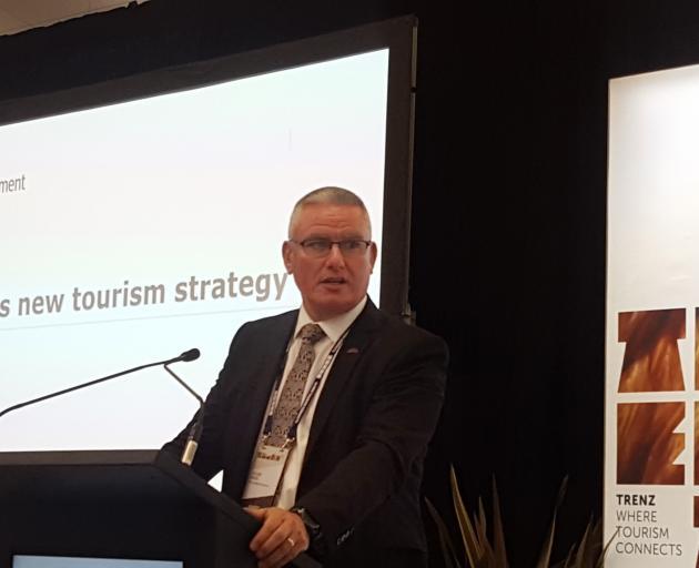 Minister of Tourism Kelvin Davis speaks at Trenz, in Rotorua, yesterday. PHOTO: DAVID LOUGHREY