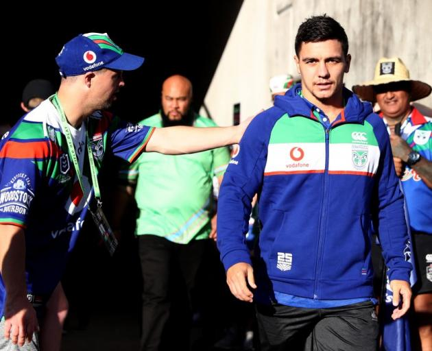 Kodi Nikorima in his new Warriors colours ahead of this weekend's game. Photo: Getty Images