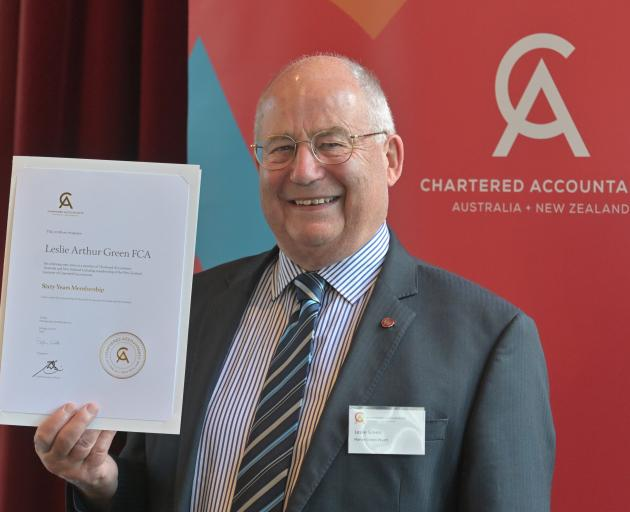 Les Green celebrates 60 years as a chartered accountant in Dunedin at a lunch at the Dunedin Club...