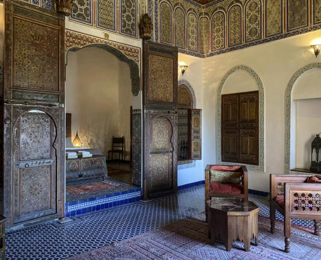 The sitting area in a two-room suite at Dar Saffarine, a restored 600-year-old residence that now...