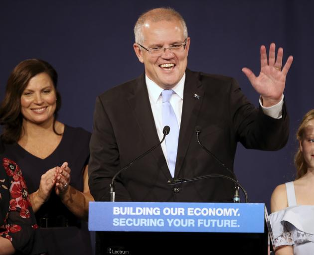 A victorious Scott Morrison thanks party supporters in Sydney. Photo: AP