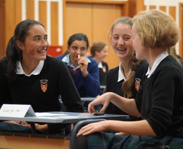 Geraldine High School trio (from left) Maia Mahuika, Saskia Finlayson-Hood and Christine Bendsen ...